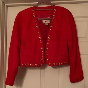 Mondi- 1980's Cropped gold stud Red shrug jacket